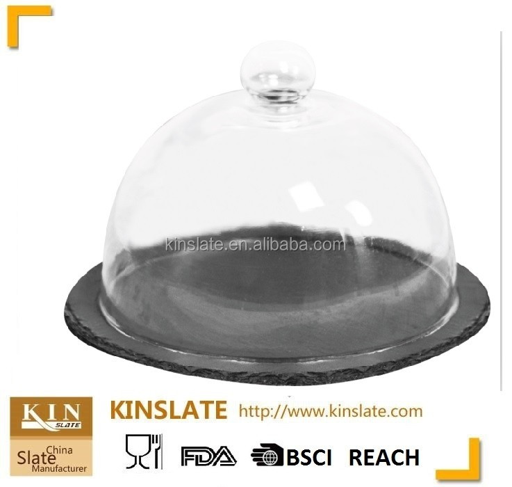 Natual slate Multifunctional Serving Platter and Cake Plate With Glass Dome