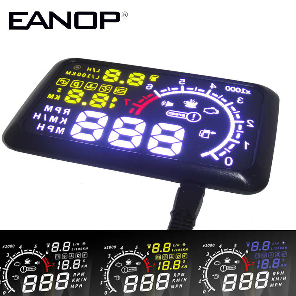 EANOP 5.5 HUD Head up Display Auto Speed Projector Car hud Windshield Projector Head OBD2 fuel Overspeed KM/H