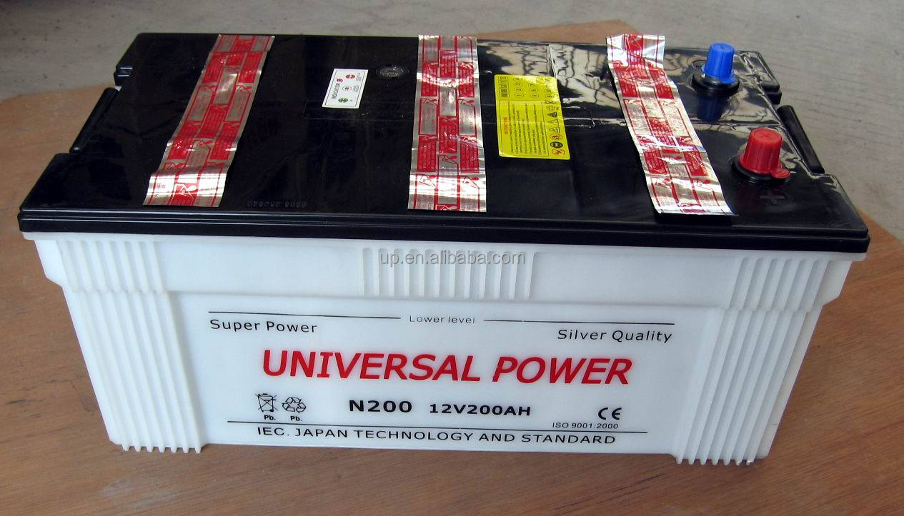 JIS standard car battery N200 dry charged automobile batteries 12v200ah automotive bateries 195H52