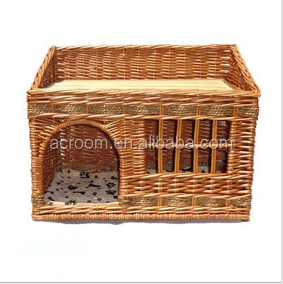 Wholesale suppliers pet favorite willow wicker woven pet display cage dog cat house