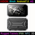 HIDON 8Inch Rugged Tablets with Android7.0 OS 4G IP68 NFC 1D/2D Barcode UHF RFID Tablet