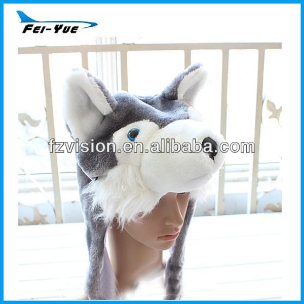 Customized Logo Plush Husky Animal Hood Wolf Hat