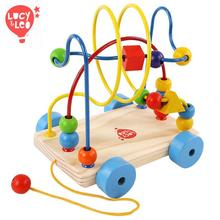 children toys new 2016 style educational toys wooden beads around the cable car new style
