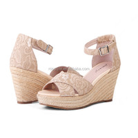 High quality latest sexy design sweet pink color shiny sky-high heels 4.5 inch high heel wedge shoes