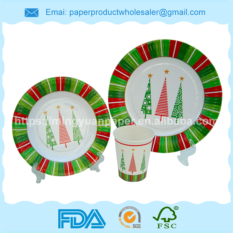 Custom Printed disposable party tableware paper dishes