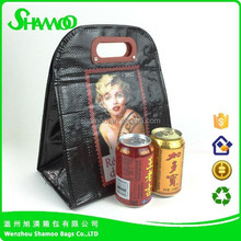 Laminated pp woven cooler bag plastic handle thermal lunch handbag