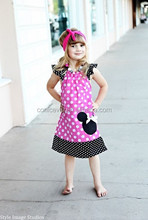 Adorable baby girl ruffle summer casual dress with black polka dot fashion design small girls dress childrens boutique clothing