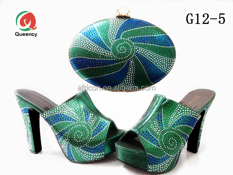 G12 Queency Wholesale Price Lady Italian Green Shoes Matching Bags Set 2017 Wedding with Stones Decoration