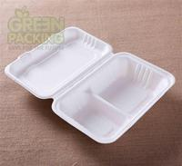 bagasse biodegradable 9''x7''-1000ml white lunch container