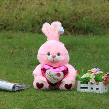 new best fashional with heart plush rabbit for love couple gift