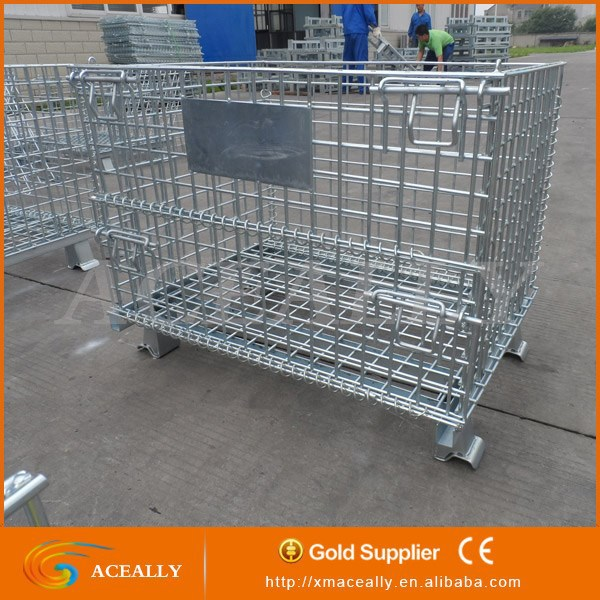 Stackable Foldable Wire Mesh Container Logistic Storage Cage wire plant cages