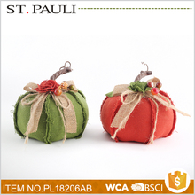 cheap wholesale red and green stuffed pumpkin thanksgiving party giveaways for table decoration