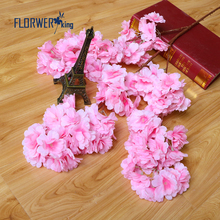 Flowerking Brand Factory direct sale 3 branches cherry blossom decoration artificial plastic flower artificial flower