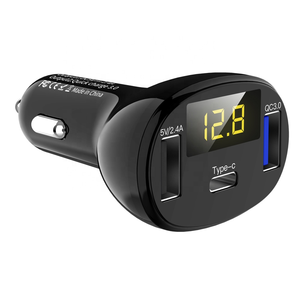 New Item Quick Charge QC 3.0 and Type C with <strong>LED</strong> Display <strong>C02</strong> Dual Charging Port Fast Car Charger