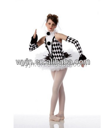 high-class black and white europe style women stage wear -princess tutu puppet theme party show for lady' dance costume