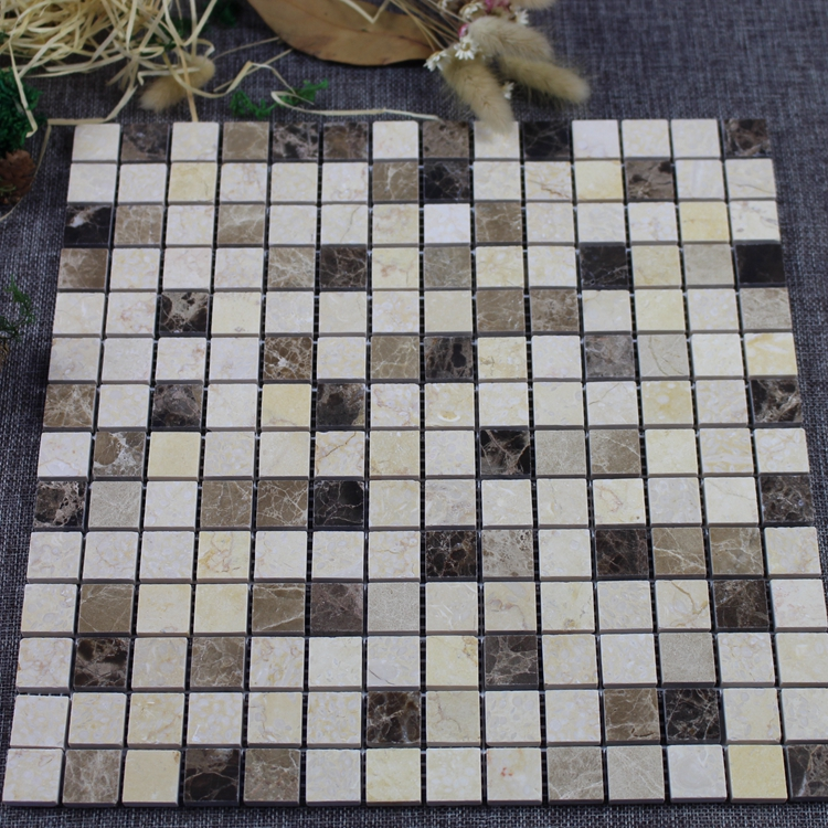 Decorstone24 Hotsale Random Mixed Color Marble Square Mosaic Tiles For House Decor With Cheap Price
