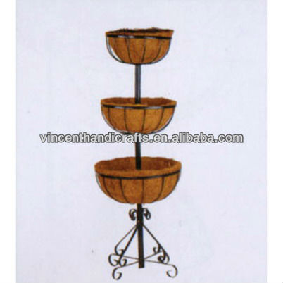 Three layer craft metal stand holder coco liner flat wire basket for home balcony decoration