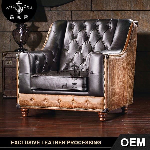 button tufted upholstered leather sofa A122