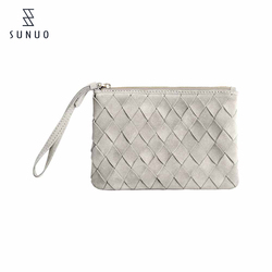 hand pu woven bag with white colour