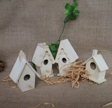 Handmade unfinished art small wooden bird houses model wholesale