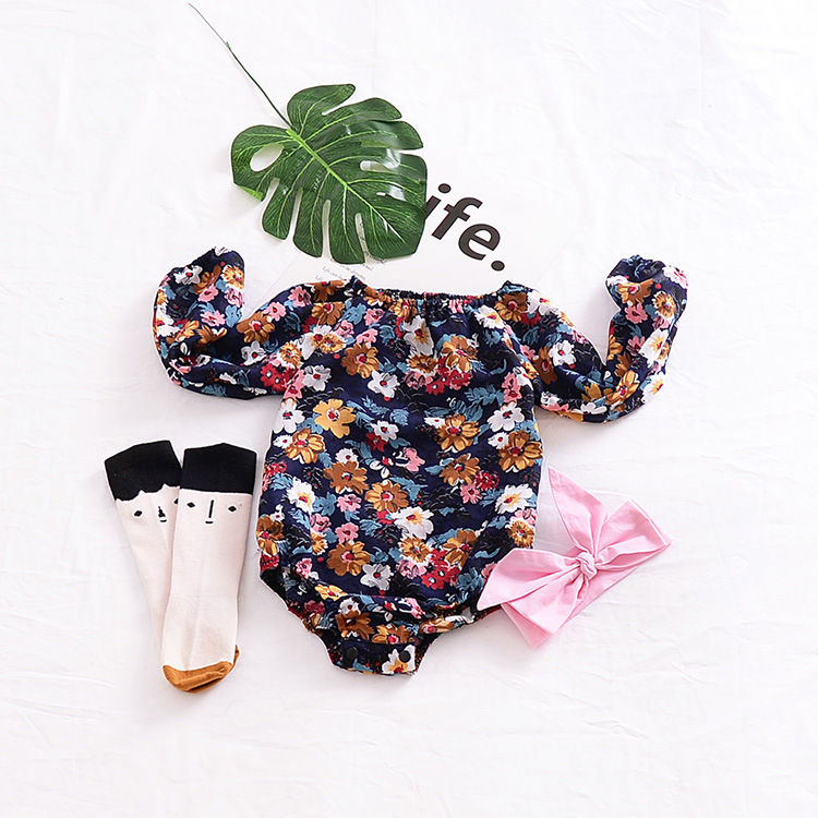 2018 Trending Products Newborn Baby Clothes Floral Cotton Romper Toddler Clothing