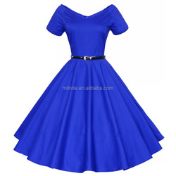 Womens Summer Sexy V-Neck Party Dresses 50s 60s Vintage Retro Style Ladies Rockabilly Swing Red Black Blue Sweetheart Prom Dress
