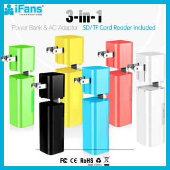 iFans 3000 mAh Power Battery Charger AC Adapter Card Reader