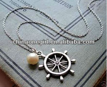 NAUTICAL pearl boat SHIP WHEEL Marine SAILOR NECKLACE