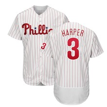 Phillies Bryce Harper 3 Borduren Logo Uniform Shirts Baseball Jersey Custom