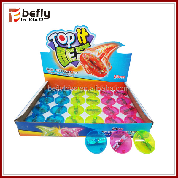 Transparent hand turn light toy plastic spinning top