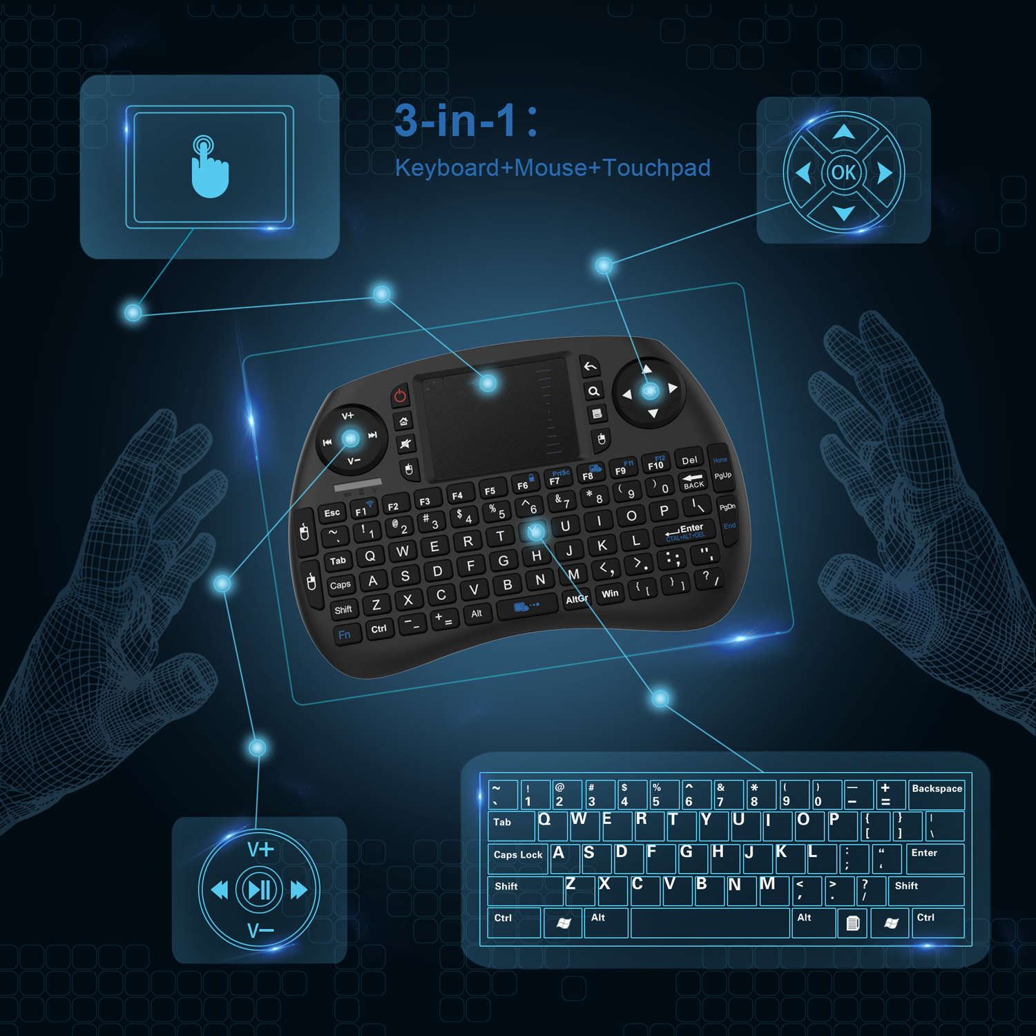 High Quality Machine Grade Abs Plastic Black Mini Keyboard Bluetooth For Tv
