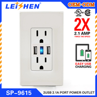 Combination USB Charger with Tamper Resistant Receptacle