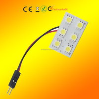 LED panel reading lights 6 SMD 5050 roof led light bulb car Interior lamp T10 Festoon Dome Adapter Car Vehicle