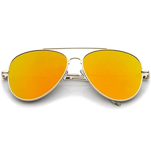 High Quality Metal Frame Colored Mirror Polarized Flat Lens Aviator Sunglasses