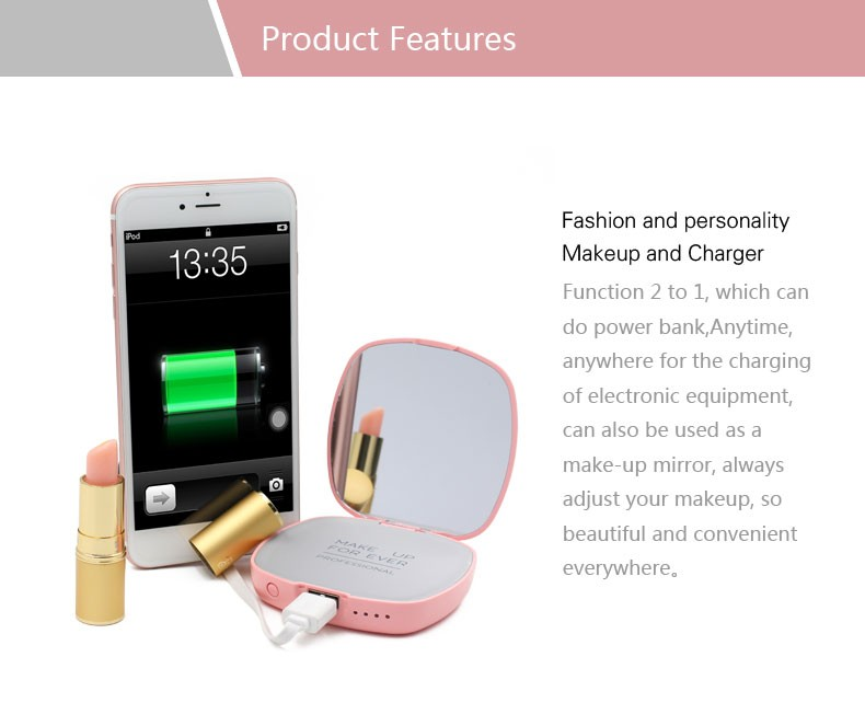 Promotiom gift wholesales high quality mirror power bank 4000mah