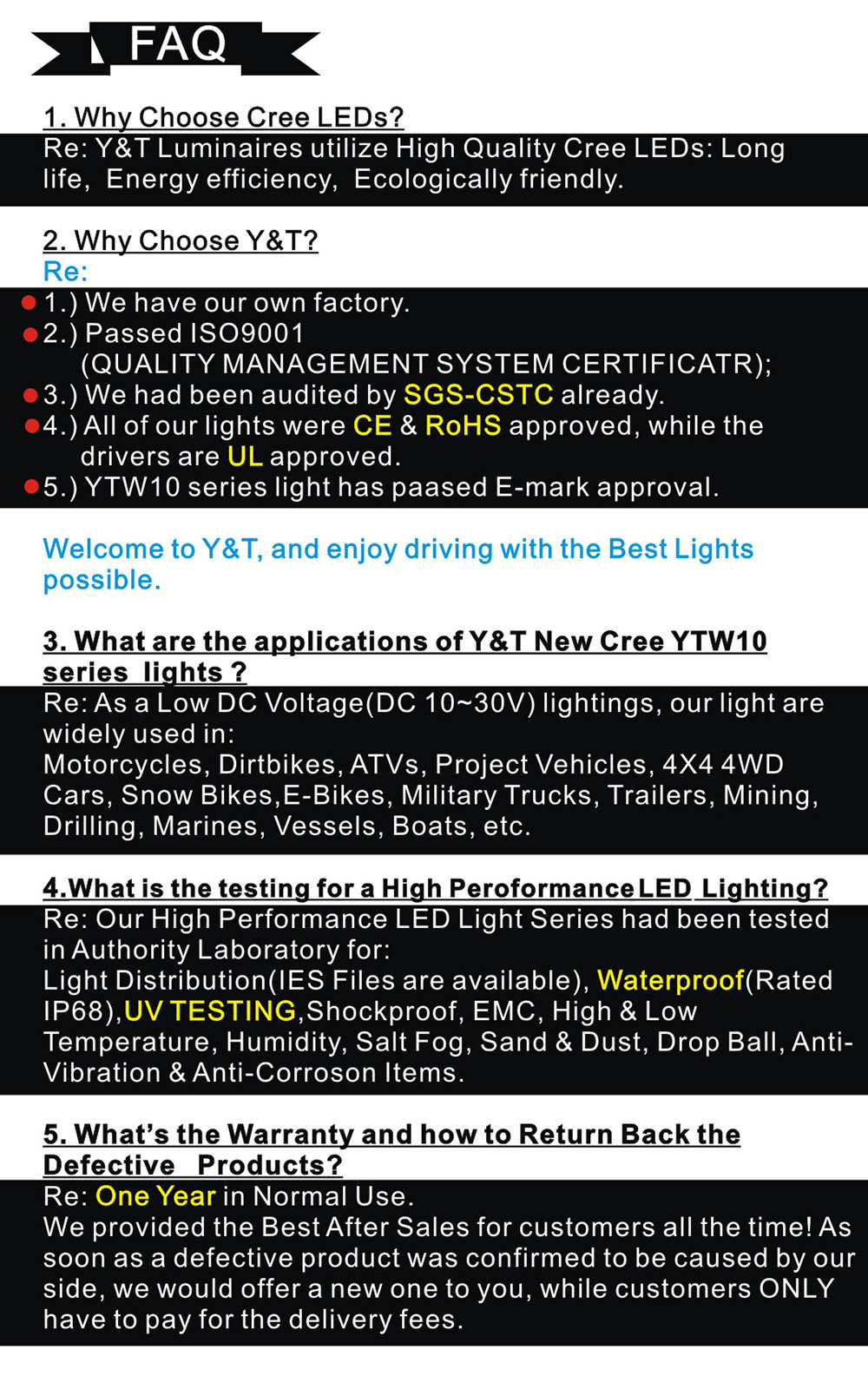 Y&T YTLB01-C Harvester Offroad SUV 4*4 Tow Truck Boat 7.5inch 36w double row LED Light Bar