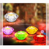 3.5*7.3cm Diamond Shape Sprayed Color Decorative Replacement Glass Candle Holder Candelabra / Glass Votive Candle Holder