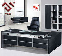 Black Veneer Executive Modern Office Desk