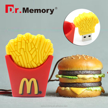 Dr.memory funny 4GB 8GB 16GB 32GB Cute Memory French Fries/hanburg USB Flash Drive pendrive chips Key Memory Stick Pen Drive