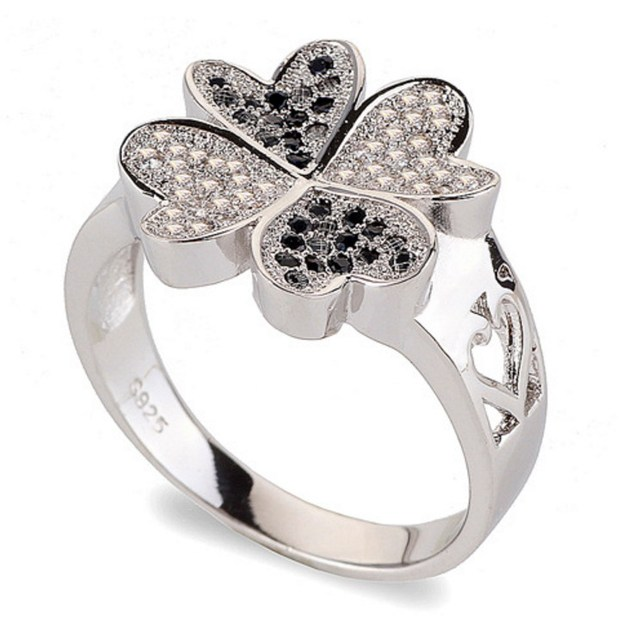 Four-leaf Clover Lucky Antique Casting Zircon Stainless Steel Diamond Ring For Girls ZZR162