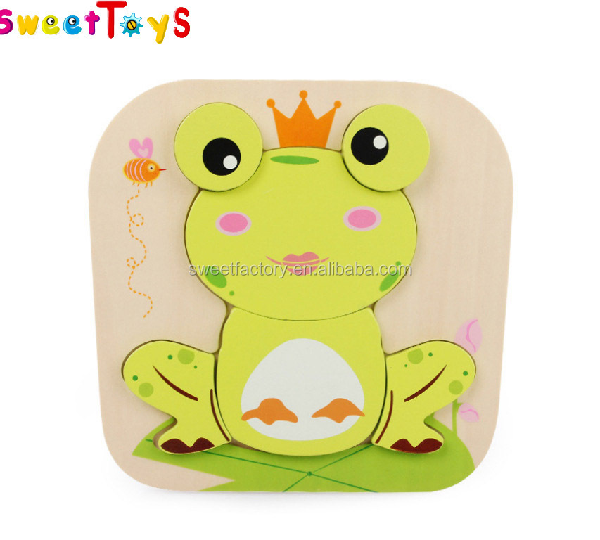Wooden Animals Early Educational Toy Puzzle Cartoon Baby Children Kid's Toy Baby Learning 3D frogs Puzzle animal puzzle intell