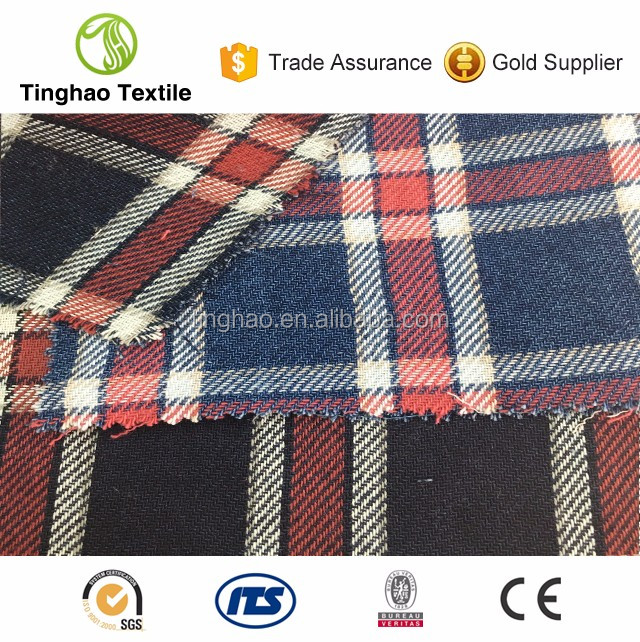 High quality indigo yarn dyed cotton shirting fabric mills