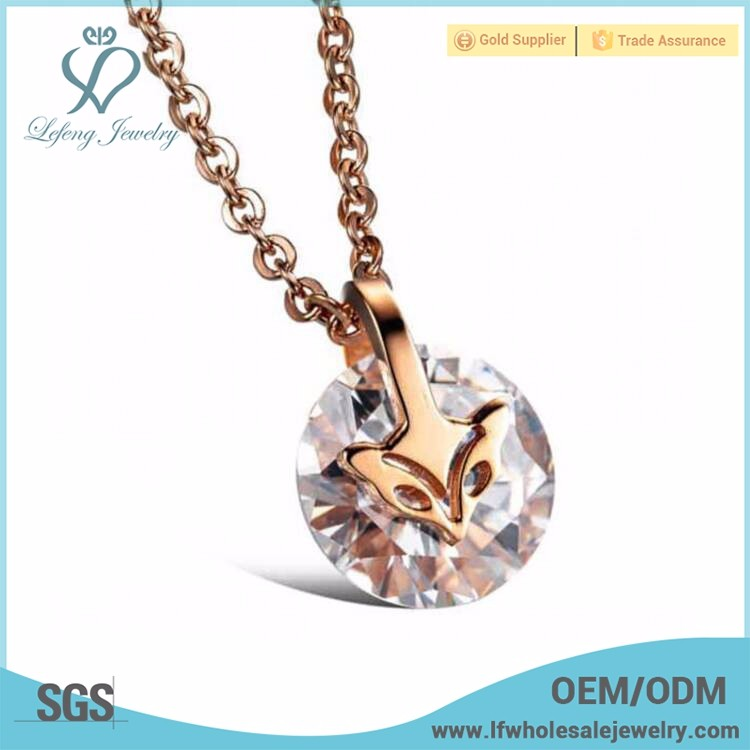 Fashionable rose gold crystal pendant necklace without stones