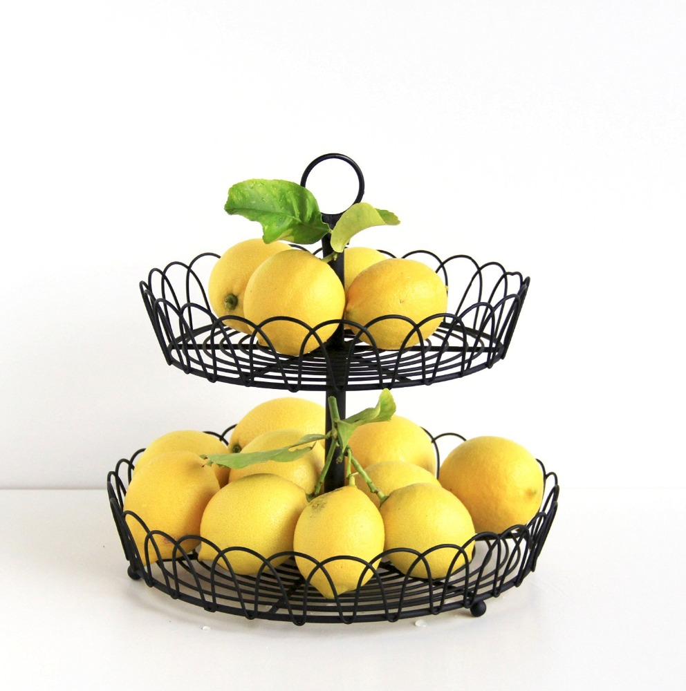 Black Metal 2-Tiered Stand, Fruit Storage, Display Basket, Countertop Organizer