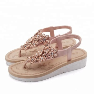 9db3311769a9 Women S Low Wedge Thong Flip Flops Sandals Cozy Bohemian Flat Platform  Beach Slippers With Beads