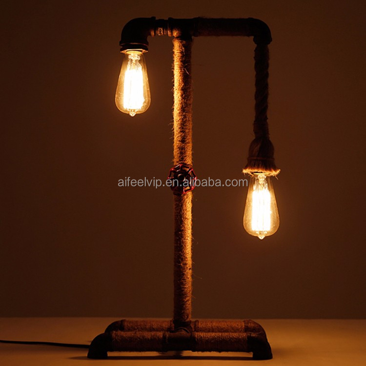 Hot sale american style iron industrial vintage decorative edison table lamp for bedroom