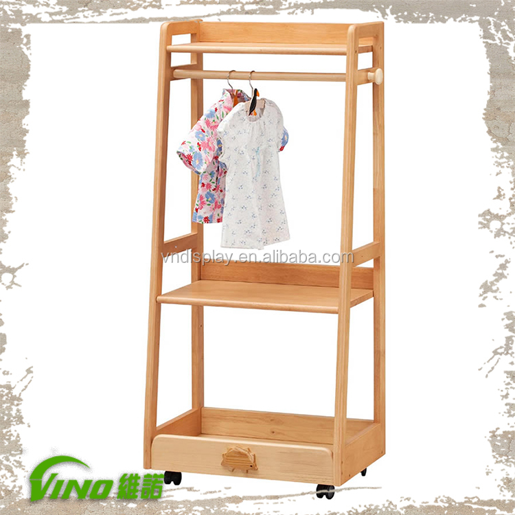 Wooden clothing store design dress hanger stand baby - Burras para ropa ...