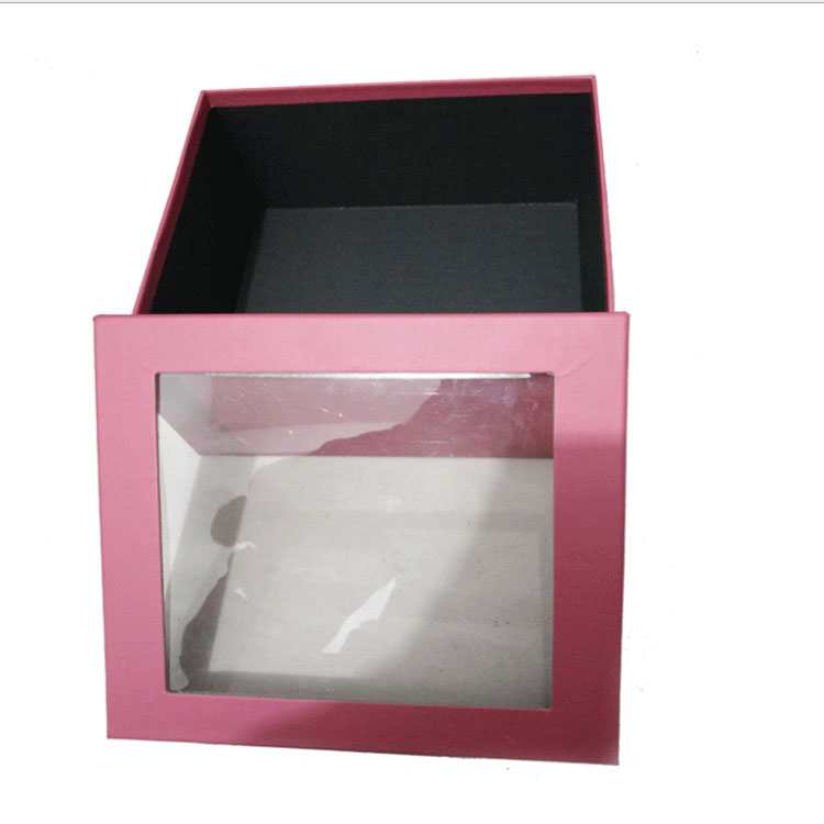 Wholesale popular christmas gift boxes paper cylinder handcraft box with clear window