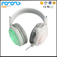 HL-F1 White Wired LED Light Headphones with Microphone Factory best stereo wired gaming headset for xbox