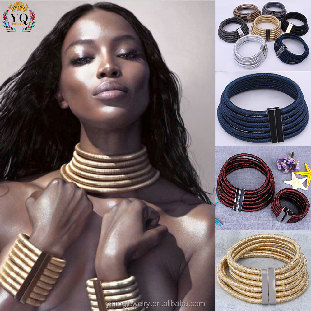 NYQ-00307 2016 newest design multi color scarf 6 layered chain string magnetic clasp collar choker statement <strong>necklace</strong>